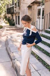 sweater,skirt,tumblr,blue sweater,off the shoulder,off the shoulder top,midi skirt,white skirt,slit skirt
