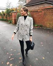 jacket,blazer,checked blazer,double breasted,ankle boots,black boots,black jeans,skinny jeans,handbag,crocodile,sweater,earrings