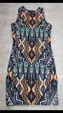 SOLD OUT TOPSHOP BLACK PETITE AZTEC TRIBAL PRINT BODYCON MINI DRESS SIZE 10 | eBay