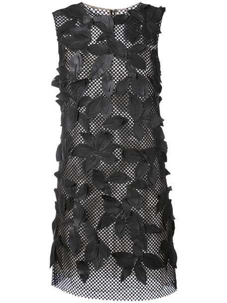oscar de la renta dress mesh dress mesh women embellished cotton black