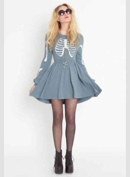 dress gray dress skeleton grey