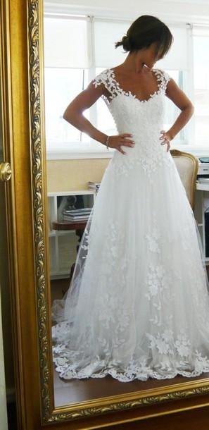 Dress wedding dress wedding clothes wedding white for Pinterest lace wedding dresses