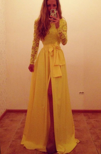 Dress: yellow dress, long sleeve dress, evening dress, long dress ...