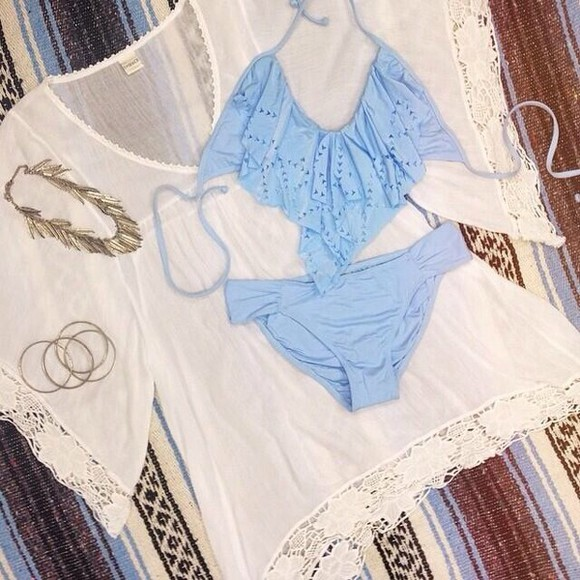 blue baby blue swimwear lace blue lace swimwear