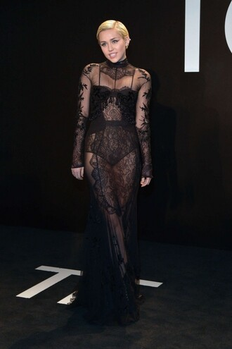dress gown lace dress lace red carpet dress miley cyrus black sheer