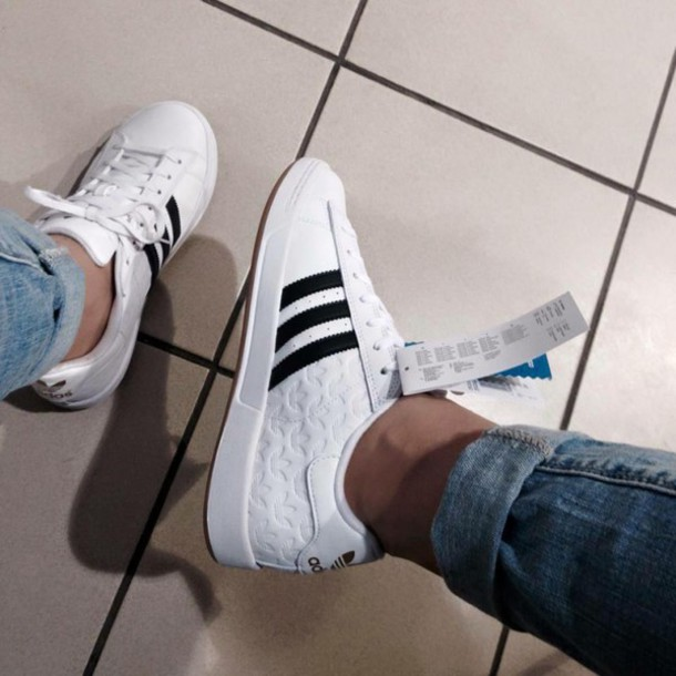 shoes, adidas, clothes, jeans, fashion, style, girl, white
