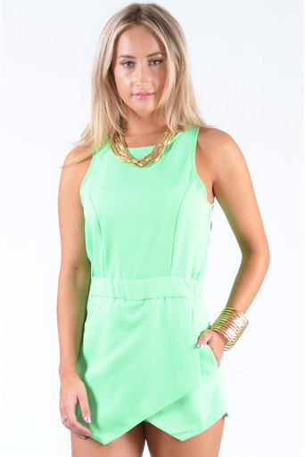 Ladies Kendon Skort Playsuit In Green at Pop Couture UK