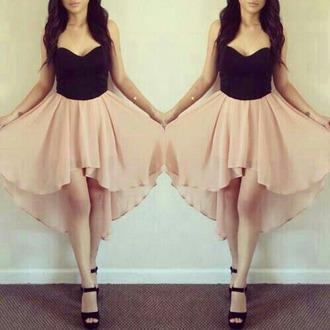 dress black top cream dress high-low dresses