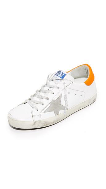 Golden goose sneakers white orange shoes