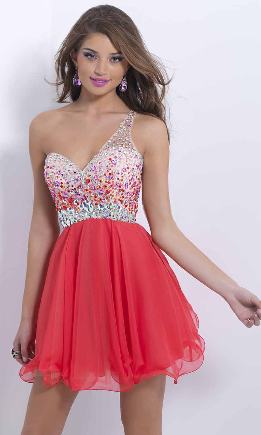 Amazing Rhinestone One Shoulder Short Red Prom Dress UK KSP386 ...