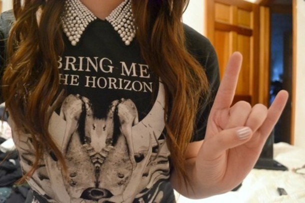 shirt pearl collar band bring me the horizon bring me the horizon pale