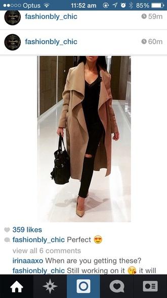 kim kardashian prada camel coat coat