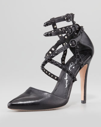 Alice   Olivia | Drixa Studded Ankle-Wrap Pump - CUSP