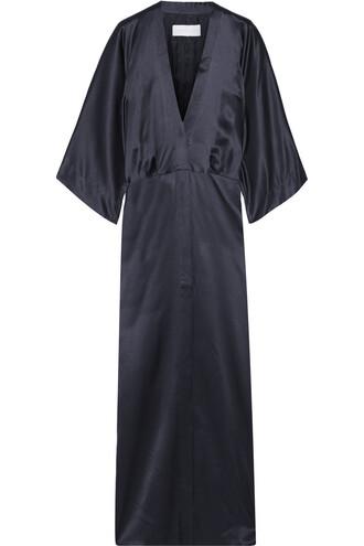 jacket kimono jacket silk satin blue
