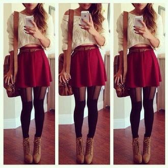 make-up black pants seethrough red skirt white shirt skirt