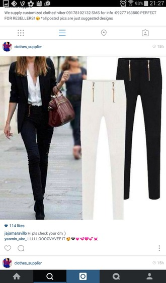 pants black high waisted pants zips white high waist pants