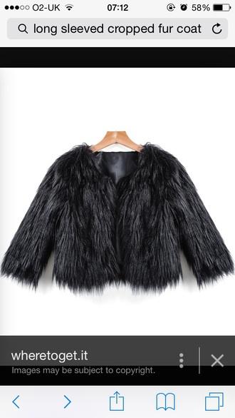 coat black jacket faux fur jacket