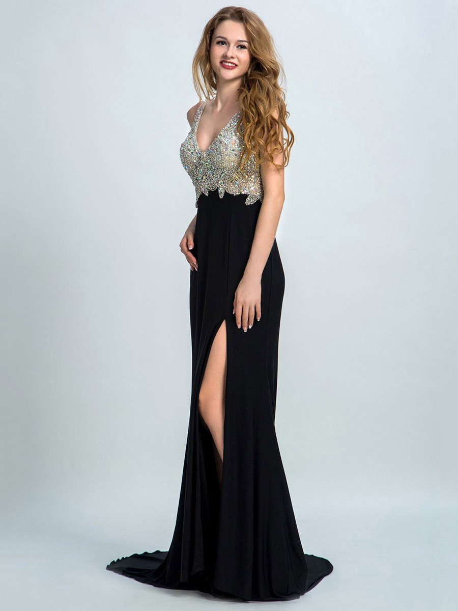Trumpet/Mermaid Backless V-neck Chiffon Split Front Black Prom Dress - formaldressaustralia.com