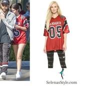 top,rodarte,selena gomez,red,football shirts