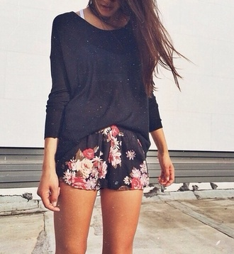 flowered shorts girly shorts shirt nightwear