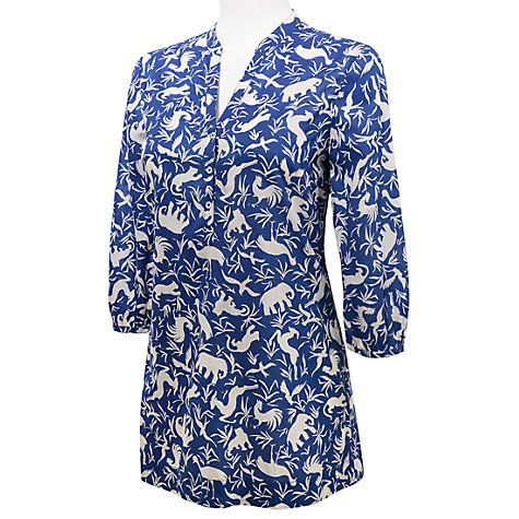 Buy East Noah Print Blouse, Blue online at John Lewis