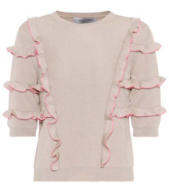 sweater ruffle cotton beige