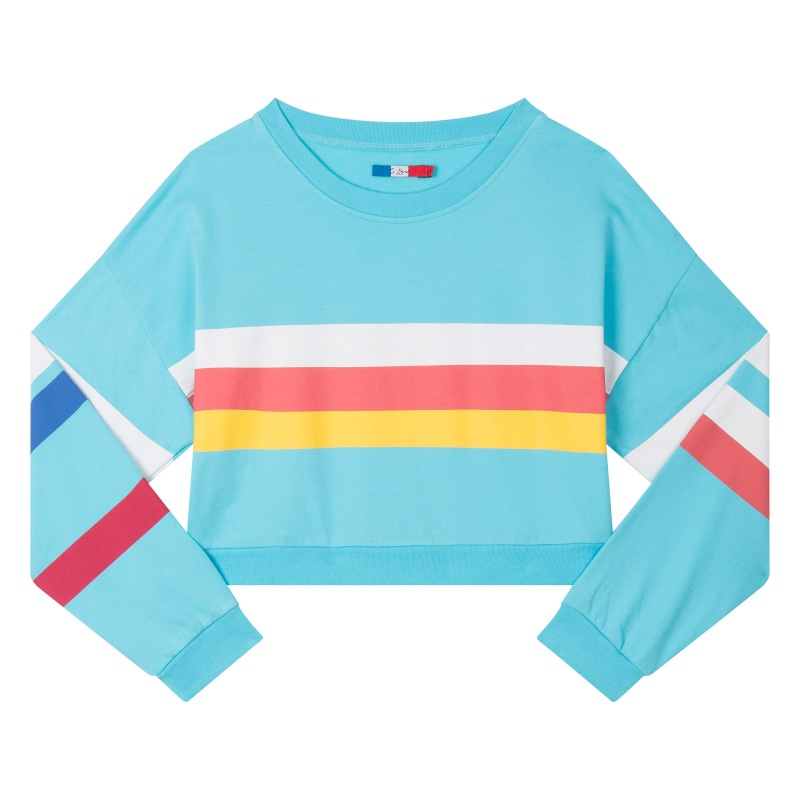 Crop cotton sweat-shirt with white red and yellow stripes