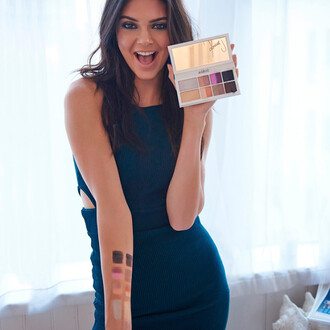 dress bodycon dress kendall jenner editorial makeup palette make-up makeup table