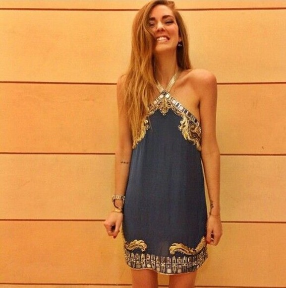 dress pretty sparkle jewels halter egyptian shortdress blue dress