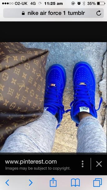 shoes nike air force 1 blue