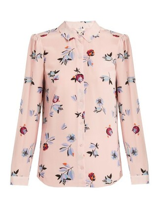 shirt print silk pink top