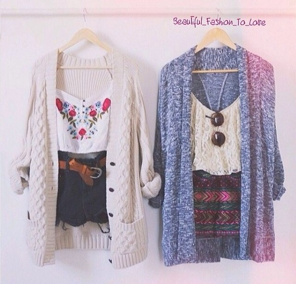 sweater shirt shorts knitted cardigan