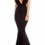 Black V Neck Backless Maxi Party Dress