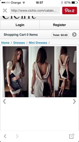 dress beige plain v-back