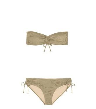 bikini bandeau bikini jacquard green swimwear