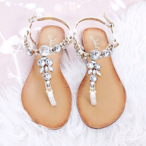 a35b83258 Silver gem embellished t bar sandals - flat sandals - shoes   boots ...