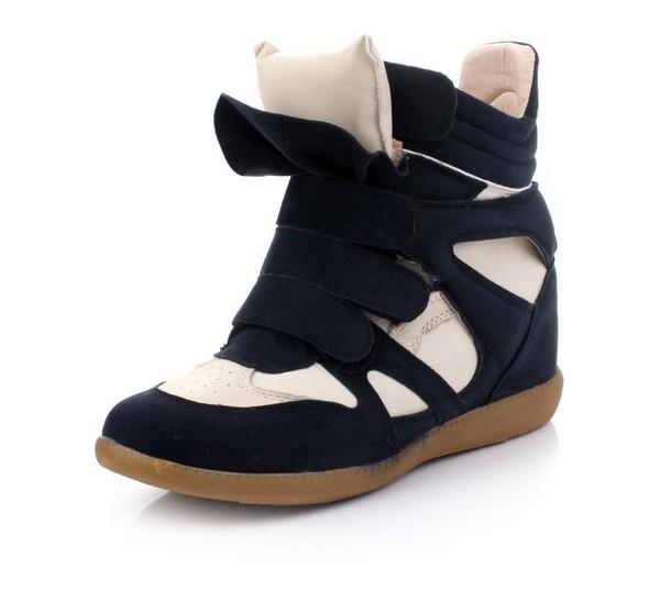 Maranchic Bekett Wedge Sneakers (White/Navy) – Glamzelle
