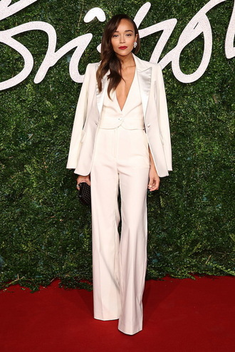 pants power suit wide-leg pants white pants high waisted pants vest womens suit white vest blazer white blazer red lipstick red carpet ashley madekwe blogger celebrity style celebrity all white everything two piece pantsuits matching set