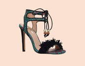 shoes,high heels,high heel sandals,embroidered,embellished,green,black sandals