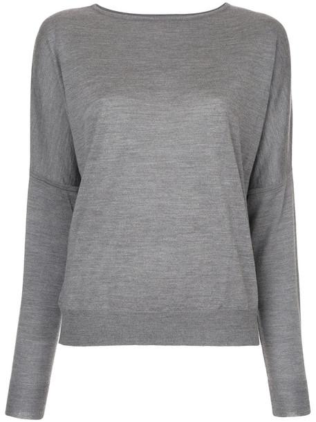 Jean Paul Knott top knitted top loose women fit silk wool grey