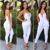 dress,jumpsuit,romper,v neck,overalls,pants,pantsuit,jumper,white. high fashion,white jumpsuit,white,long jumpsuit,white romper,cute rompers,summer romper,sexy,nude,nude heels,nude high heels,nude pumps,nude shoes,all nude everything