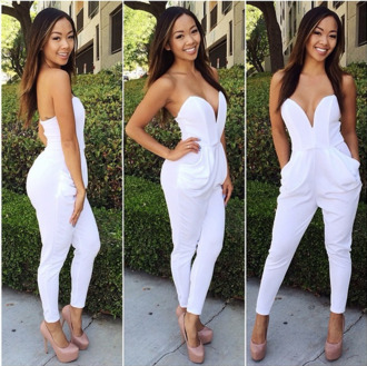 dress jumpsuit romper v neck overalls pants pantsuit jumper white. high fashion