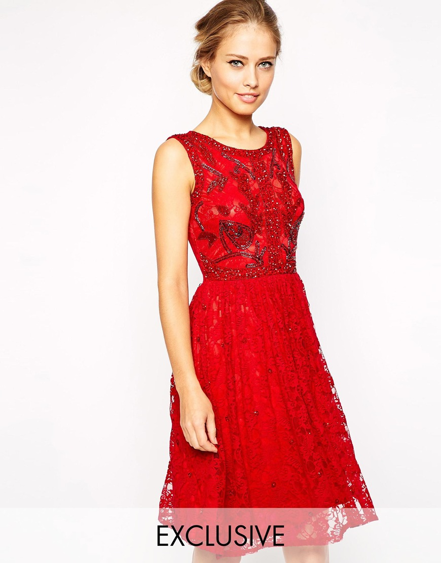 Frock and frill sleeveless lace skater dress with embellishment at asos.com