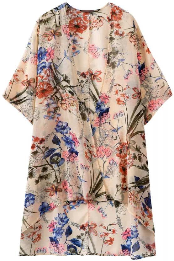 Floral print apricot chiffon kimono