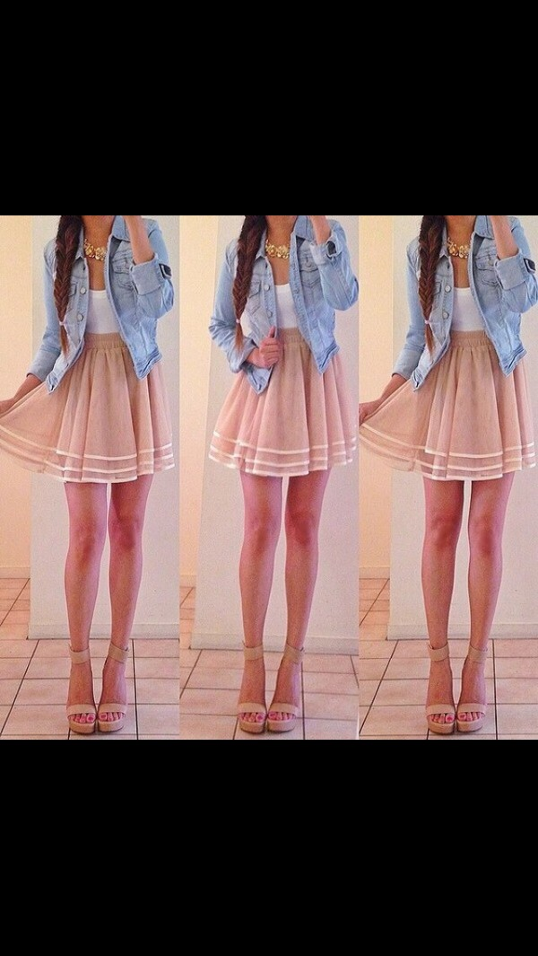 skirt nude sheer jacket