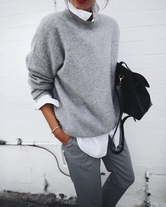 sweater bracelets tumblr grey sweater pants grey pants shirt white shirt bag black bag gold bracelet work outfits office outfits