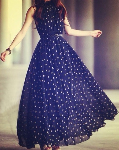 dress polka dots navy blue