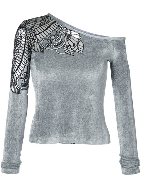 blouse embroidered women spandex grey top