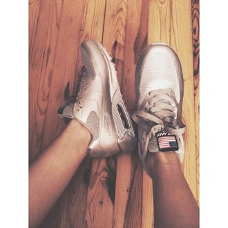 shoes nike air max 90s style metallic shoes