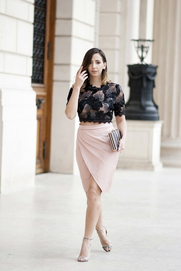 e3961e8e3c let's talk about fashion ! blogger top skirt bag shoes sequin shirt crop  tops crop pink